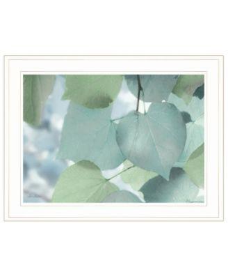 "Aqua Leaves by Lori Deiter, Ready to hang Framed Print, White Frame, 21"" x 15"""