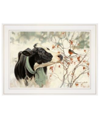 """The Winter Robin by Bonnie Mohr, Ready to hang Framed Print, White Frame, 19"""" x 15"""""""