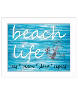 """Beach Life By Cindy Jacobs, Printed Wall Art, Ready to hang, White Frame, 18"""" x 14"""""""
