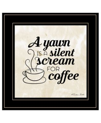 """A Silent Scream for Coffee by SUSAn Ball, Ready to hang Framed Print, Black Frame, 15"""" x 15"""""""
