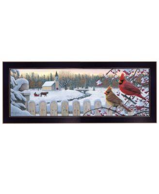 """White Crimson Morning by Kim Norlien, Ready to hang Framed Print, Black Frame, 38"""" x 14"""""""