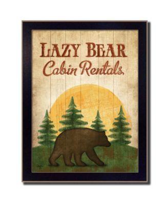 "Lazy Bear By Mollie B., Printed Wall Art, Ready to hang, Black Frame, 14"" x 18"""
