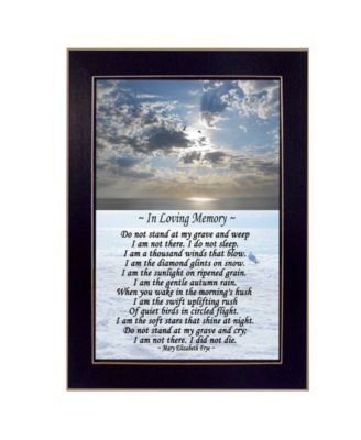 "In Loving Memory By Trendy Decor4U, Printed Wall Art, Ready to hang, Black Frame, 14"" x 10"""
