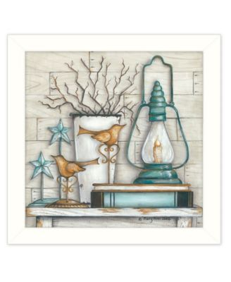 """Lantern on Books By Mary June, Printed Wall Art, Ready to hang, White Frame, 14"""" x 14"""""""