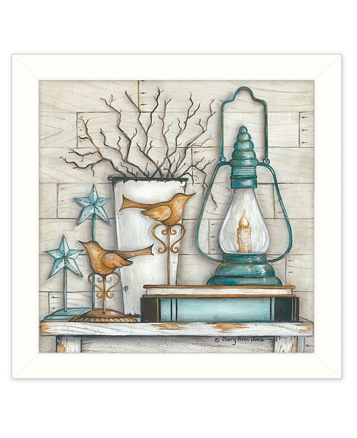 "Trendy Decor 4U Trendy Decor 4U Lantern on Books By Mary June, Printed Wall Art, Ready to hang, White Frame, 14"" x 14"""