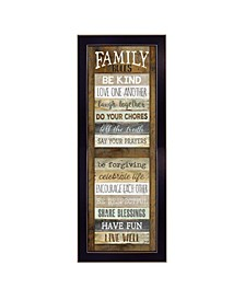 """Family Rules Shutter By Marla Rae, Printed Wall Art, Ready to hang, Black Frame, 14"""" x 38"""""""