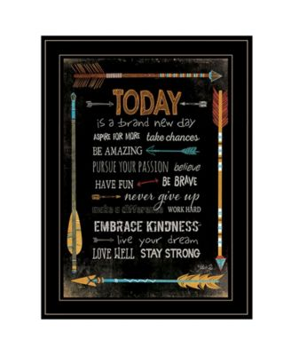 """Today Is a Brand New Day by Marla Rae, Ready to hang Framed Print, Black Frame, 21"""" x 27"""""""