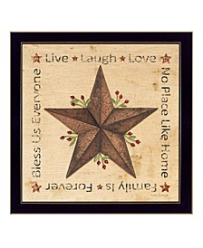 """Live, Laugh, Love - Barn Star By Linda Spivey, Printed Wall Art, Ready to hang, Black Frame, 14"""" x 14"""""""