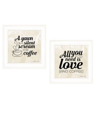 """All You Need is Coffee 2-Piece Vignette by SUSAn Boyer, White Frame, 15"""" x 15"""""""