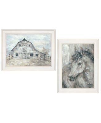 "True Spirit Horses 2-Piece Vignette by Debi Coules, White Frame, 15"" x 19"""