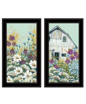 Floral Field 2-Piece Vignette by Michele Norman, Black Frame, 15