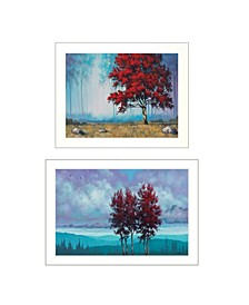 "Trendy Decor 4U Red Trees 2-Piece Vignette by Tim Gagnon, White Frame, 21"" x 15"""