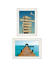 "Beach Nautical 2-Piece Vignette by Graffitee Studios, White Frame, 21"" x 19"""