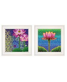 "Serenity / Lotus 2-Piece Vignette by Dorothy Siemens, White Frame, 15"" x 15"""