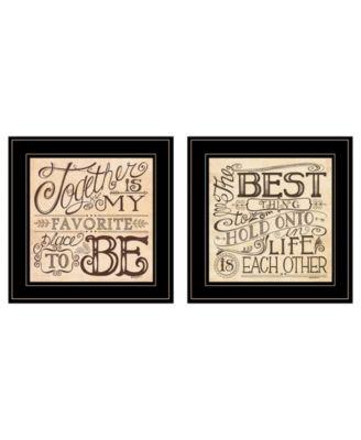 "Together / Each Other 2-Piece Vignette by Deb Strain, Black Frame, 15"" x 15"""