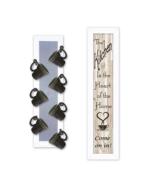"""Trendy Decor 4U Trendy Decor 4U Come On In 2-Piece Vignette with 7-Peg Mug Rack by Millwork Engineering, White Frame, 7"""" x 32"""""""