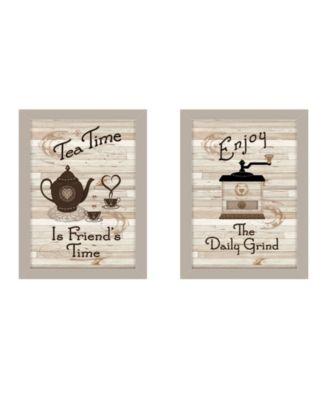 "Enjoy Tea Time 2-Piece Vignette by Millwork Engineering, Sand Frame, 14"" x 10"""
