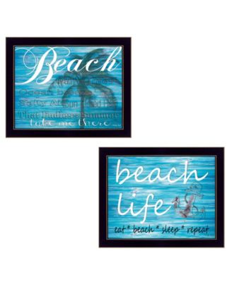 Beach Life Collection By Cindy Jacobs, Printed Wall Art, Ready to hang, Black Frame, 18