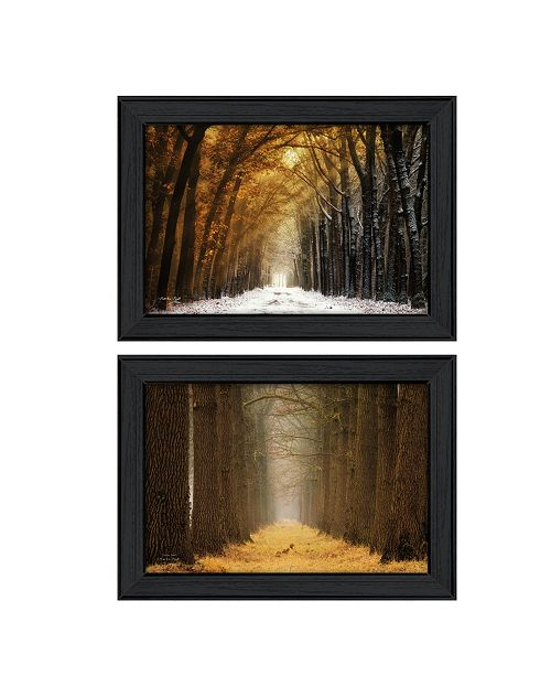 "Trendy Decor 4U Trendy Decor 4U Golden Forest Path Collection By Martin Podt, Printed Wall Art, Ready to hang, Black Frame, 42"" x 15"""