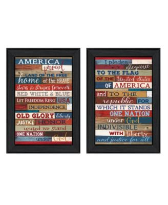 """America Proud I Collection By Marla Rae, Printed Wall Art, Ready to hang, Black Frame, 20"""" x 14"""""""