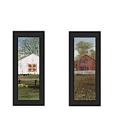 """Country Barns Collection By Billy Jacobs, Printed Wall Art, Ready to hang, Black Frame, 8"""" x 20"""""""