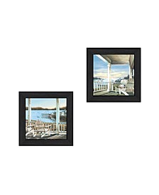 """Trendy Decor 4U Lake Side Collection By John Rossini, Printed Wall Art, Ready to hang, Black Frame, 28"""" x 14"""""""