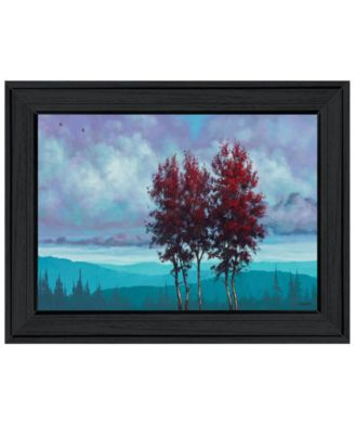 """Two Red Trees by Tim Gagnon, Ready to hang Framed Print, Black Frame, 21"""" x 15"""""""