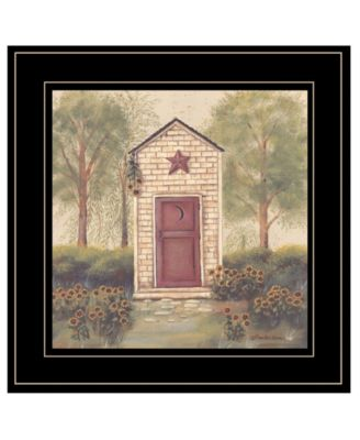 Folk Art Outhouse III by Pam Britton, Ready to hang Framed Print, White Frame, 15