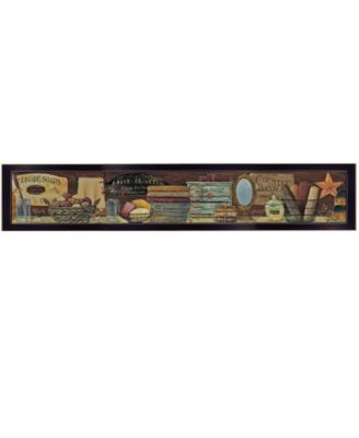 Country Bath Shelf by Pam Britton, Ready to hang Framed print, White Frame, 39