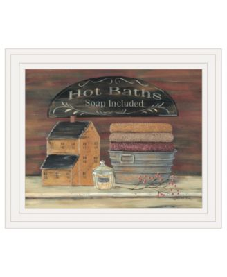 """HOT BATH by Pam Britton, Ready to hang Framed print, White Frame, 17"""" x 14"""""""