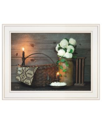 """White Flowers by Susie Boyer, Ready to hang Framed Print, White Frame, 19"""" x 15"""""""