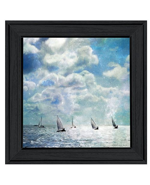"Trendy Decor 4U Trendy Decor 4U Sailing White Waters by Bluebird Barn Group, Ready to hang Framed Print, Black Frame, 15"" x 15"""