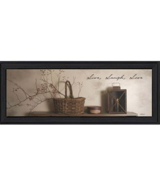 """Live, Laugh and Love By Billy Jacobs, Printed Wall Art, Ready to hang, Black Frame, 14"""" x 38"""""""