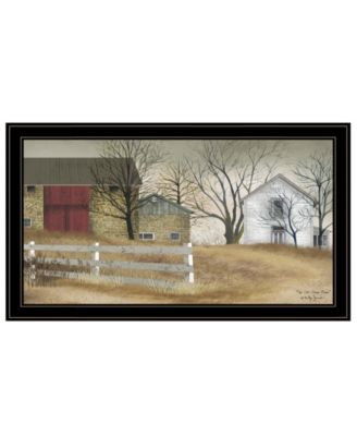 """The Old Stone Barn by Billy Jacobs, Ready to hang Framed Print, Black Frame, 33"""" x 19"""""""