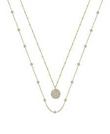 Crystal Disc Layered Necklace Set