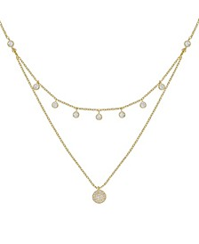 Double Layered Gold Chain Crystal Disc Necklace