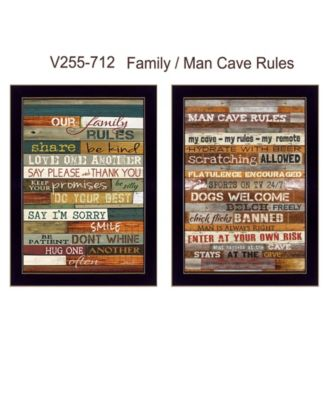 Family and Man Cave Rules Collection By Marla Rae, Printed Wall Art, Ready to hang, Black Frame, 10