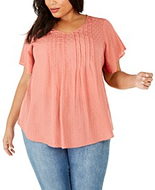 Plus Size Pintucked Flutter-Sleeve Top, Created For Macy's