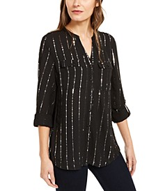 Petite Embellished Y-Neck Shirt