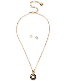 "Gold-Tone Crystal ""Blessed"" Pendant Necklace & Stud Earrings Set, 15"" + 3"" extender"