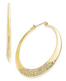 """Gold-Tone Medium Pavé Hoop Earrings, 2"""", Created For Macy's"""