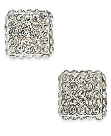 Silver-Tone Pavé Square Stud Earrings, Created For Macy's