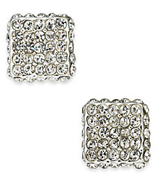 Charter Club Silver-Tone Pavé Square Stud Earrings, Created For Macy's