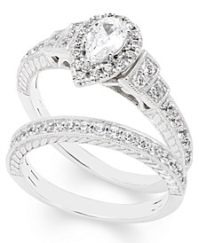 Certified Diamond (1 ct. t.w.) Pear Bridal Set in 14k White Gold