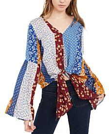 Juniors' Tie-Front Bell-Sleeve Top