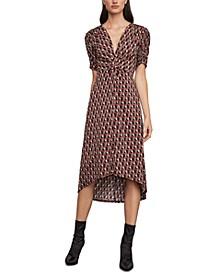 Geo-Print Twist-Front Dress