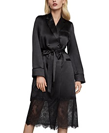 Lace-Trim Satin Trench Coat