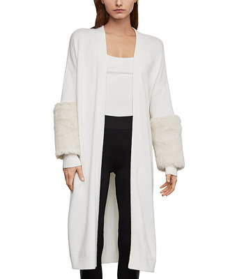 BCBGMAXAZRIA Cardigan With Faux-Fur Cuffs for elegant flare