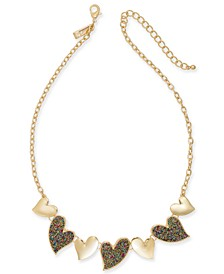 "INC Gold-Tone Beaded Heart Statement Necklace, 18"" + 3"" extender, Created For Macy's"