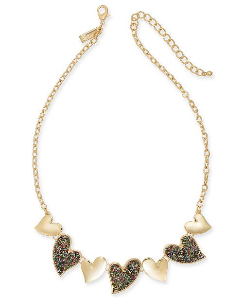 "INC International Concepts INC Gold-Tone Beaded Heart Statement Necklace, 18"" + 3"" extender, Created For Macy's"